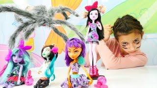 Мультик для девочек #МонстерХай (Monster High): огромный паук в Школе Монстров! Видео для девочек