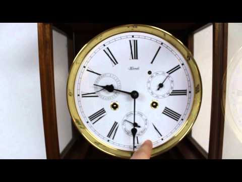 Beautiful Rare Vintage Hermle Walnut Laterndlurh Vienna Wall Clock With Rare Day, Date Month Dials