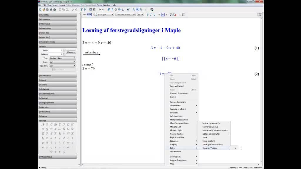Løsning af enkle førstegradsligninger i Maple