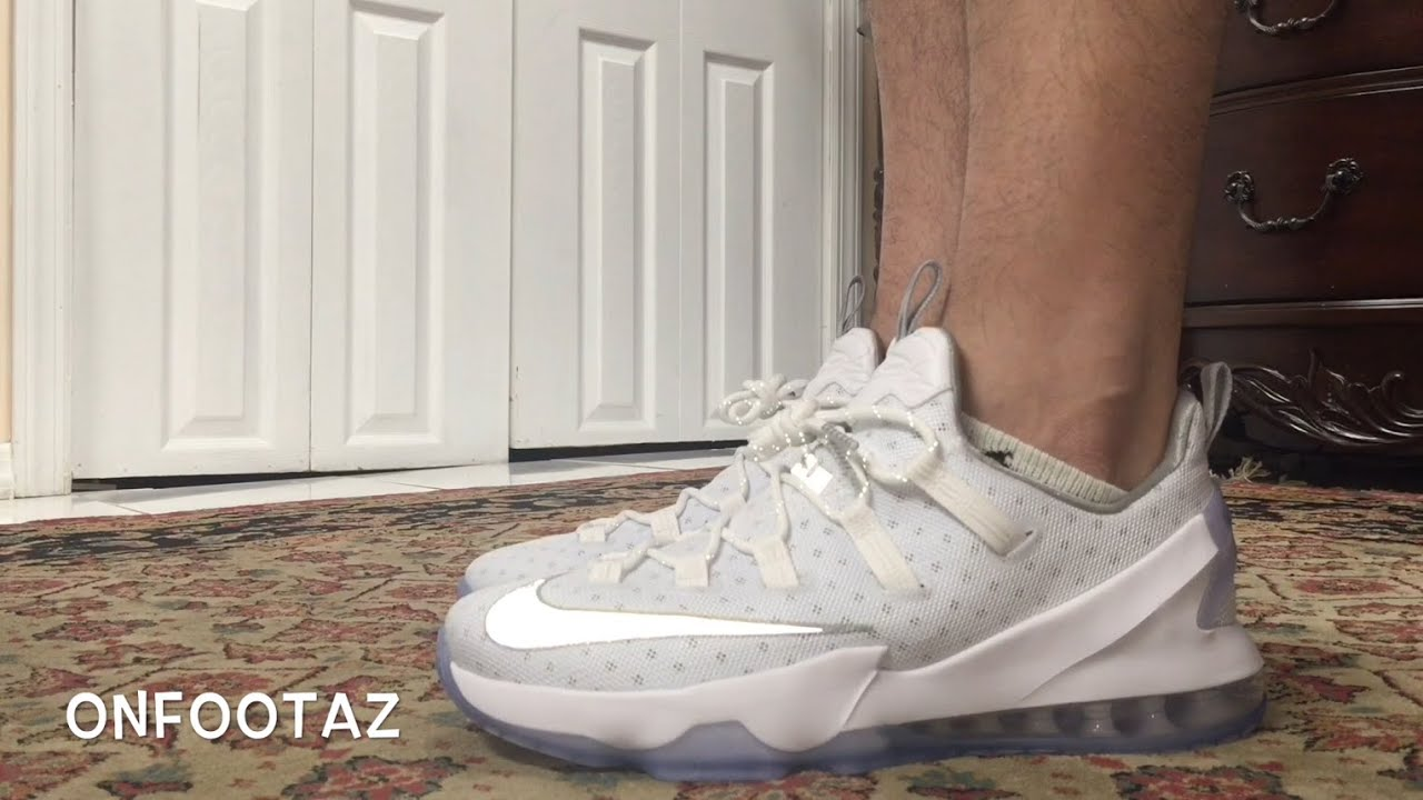 competitive price 887c2 312e7 Nike Lebron 13 XIII Low White Metallic Silver On Foot