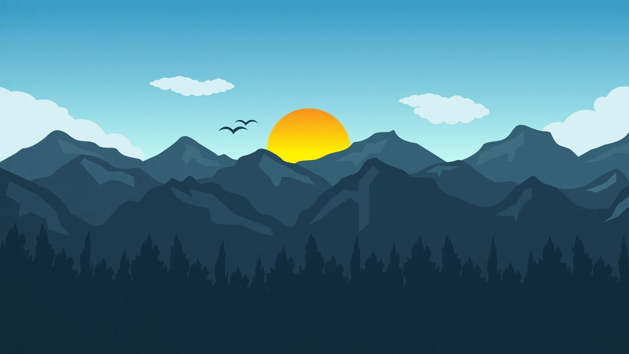 adobe illustrator cc tutorial - how to design flat landscape