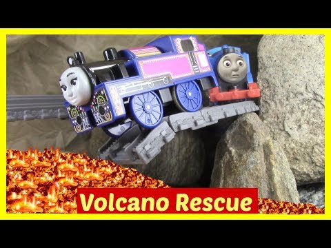 Thomas and Friends Accidents will Happen | Toy Train Accident | Volcano Drop Set to the Rescue