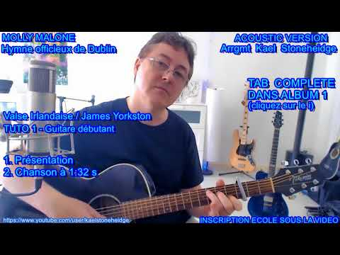Molly Malone - Tuto 1 Guitare débutant - Chanson Irlandaise  + TAB - Hymne officieux Dublin (Trad)