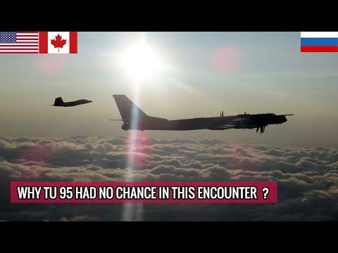 AMERICAN F 22 & CANADIAN CF 18 INTERCEPT RUSSIAN TU 95 BOMBER !!