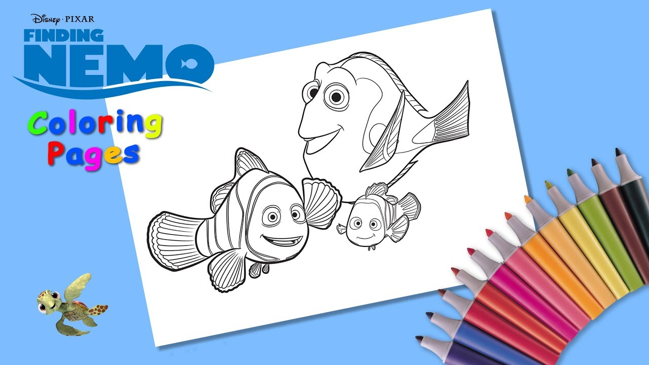 - Coloring Dory, Marlin & Nemo. Finding Nemo. #Coloring #forKids