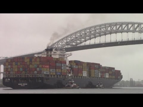 Container Ship MAERSK KOWLOON under Bayonne Bridge - Port of New York