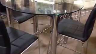 Lynette Round Glass Black Counter Dinette Set Id8320pt-bk