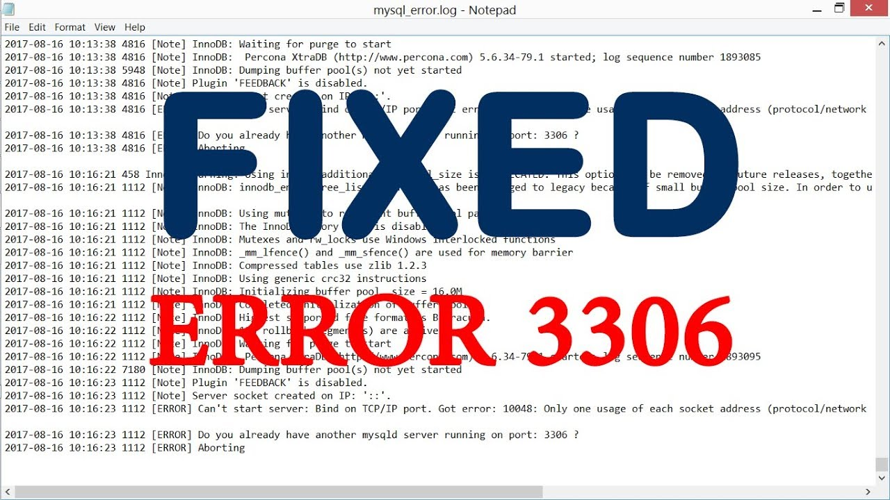 Cannot connect to MySQL server on localhost:3306 [FIXED]