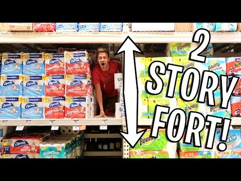 2 STORY TOILET PAPER FORT CHALLENGE!