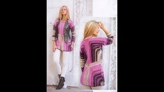 Женский Многоцветный Пуловер Спицами - видео-модели - 2019 / Multicolor Pullover Knitting needles