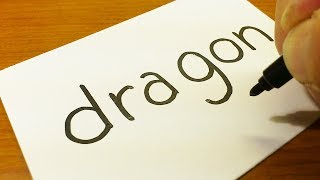 How to turn words DRAGON into a Cartoon for kids -  How to draw doodle art on paper