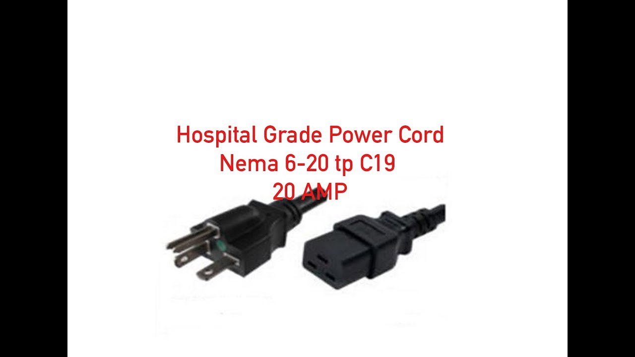 hospital grade power cord nema 6 20p to c19 20 amp p 55 120 006 [ 1280 x 720 Pixel ]