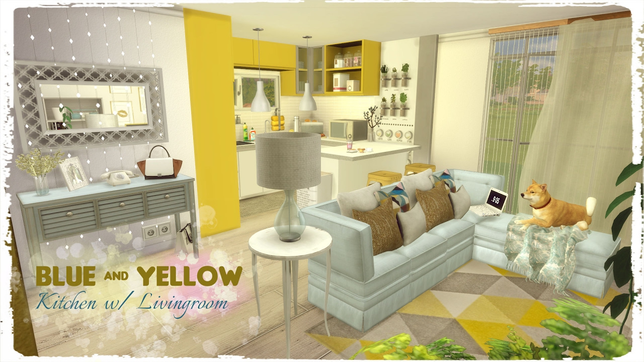 Yellow and blue living room - Sims 4 Blue Yellow Kitchen With Living Room Build Decoration Youtube
