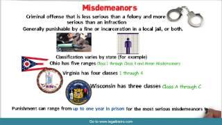 Felonies vs  Misdemeanors vs  Infractions   General Criminal LAw Video 3
