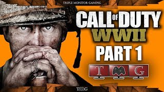 CALL OF DUTY WW2 walkthrough part 1 (D-DAY) | Triple monitor gameplay 5760x1080