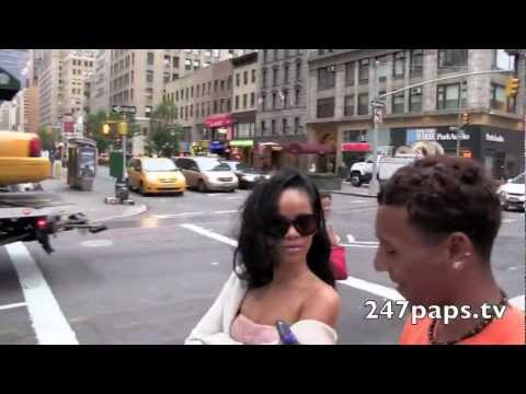 Rihanna Walking Around In A Sheer Tube Top In New York
