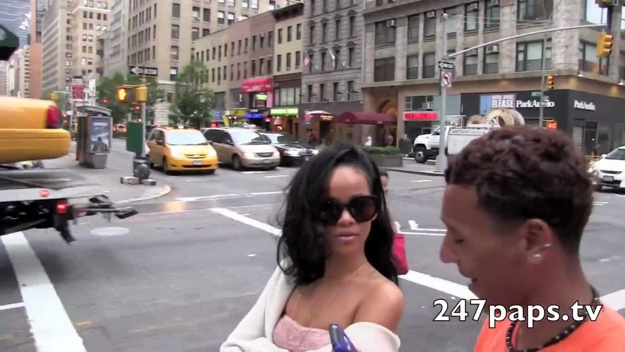 Rihanna walking around in a Sheer tube top in New York ...