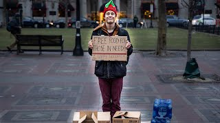 Giving 100 sandwiches to strangers!