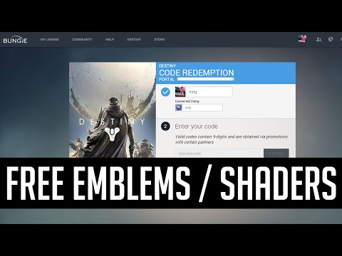 Free Shaders & Emblems (All Redeemable Codes for Destiny, Bungie net)