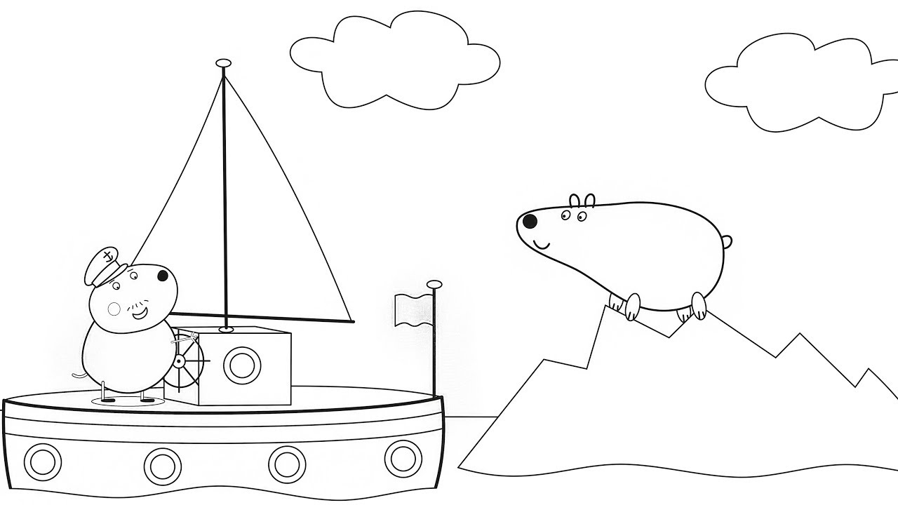 Peppa Pig - Captain Daddy Dog Drawing and Coloring Pages ...