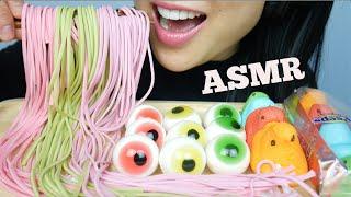ASMR GUMMY NOODLE CANDY + EYEBALL GUMMY + FRUIT LOOPS PEEPS (EATING SOUNDS) NO TALKING | SAS-ASMR