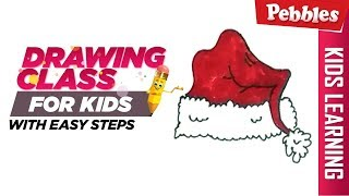 How to draw Christmas Cap | Easy Step by step drawing | Christmas special Drawing for kids