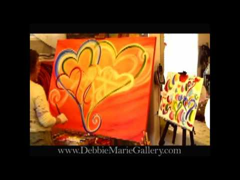 """""""The Heart Artist"""" Painting a Contemporary Family of Hearts"""
