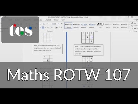 Maths Rotw 107 Grid Sums Youtube