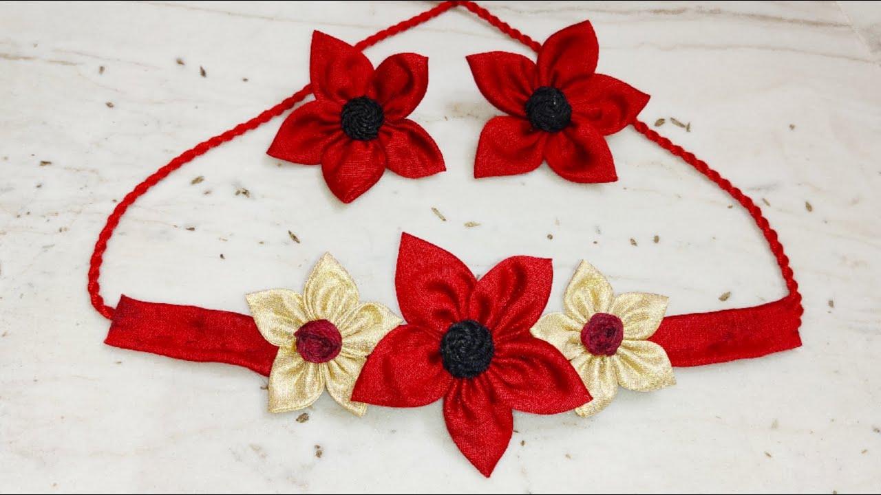 Fabric HANDMADE FLORAL NECKLACE CHOKER
