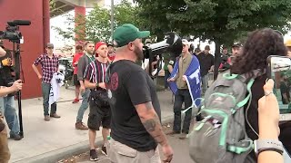 Right-wing demonstrators maintain peaceful protest in Portland; call for 'end to domestic terrorism'