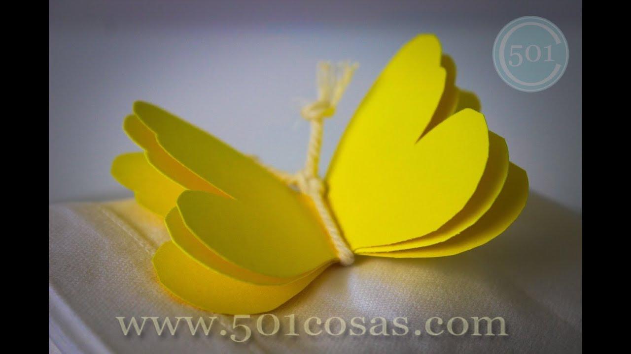 C mo hacer una mariposa de cartulina youtube - Cosas de goma eva ...