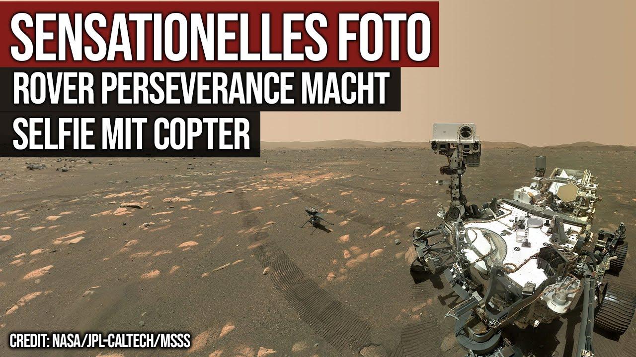 Sensationelles Foto - Rover Perseverance zusammen mit Copter Ingenuity
