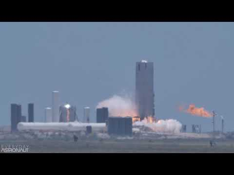 4K Slo-Mo Starship SN4 Static Fire May 19