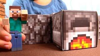 Игрушки майнкрафт - minecraft toys - Стив строит печь - обзор игры майнкрафт в реальности
