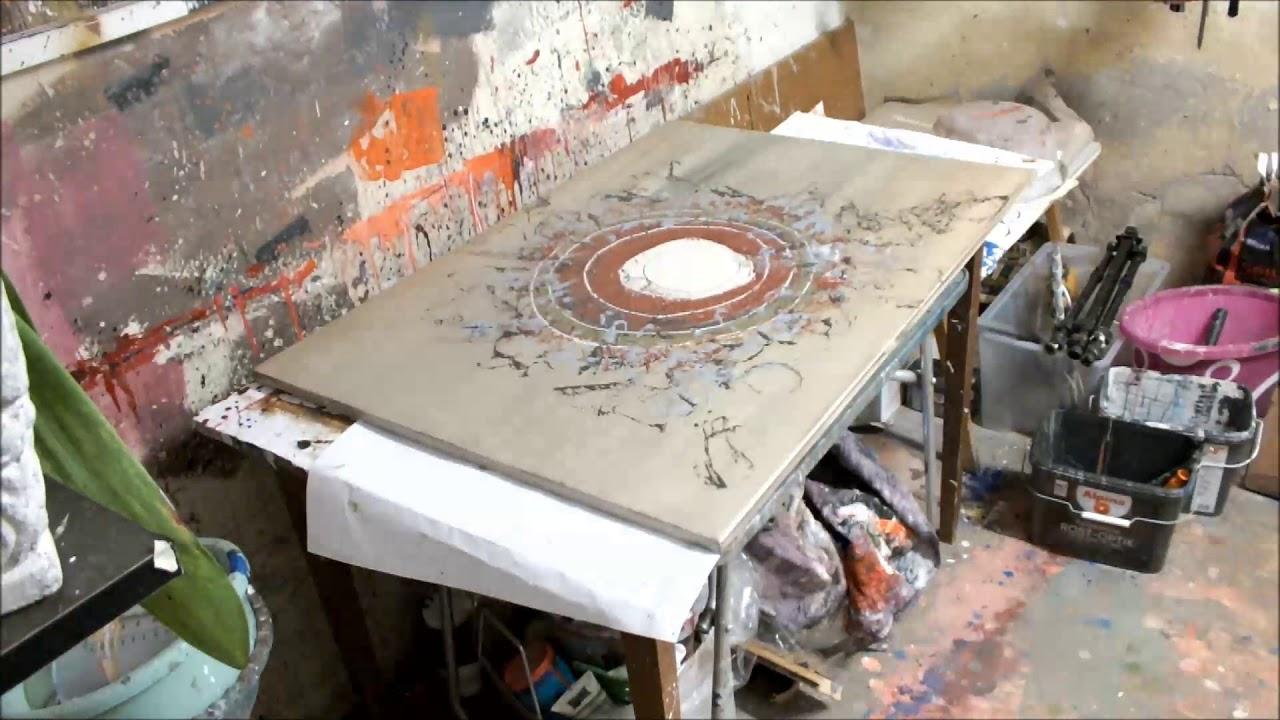 Abstraktes Malen Mit Acryl Auf Leinwand 100x70 Cm Youtube