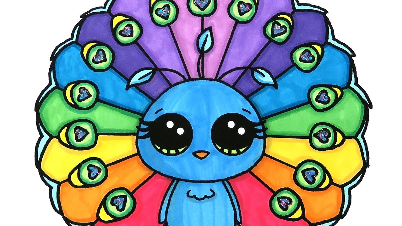 Peacock Coloring Pages For Kids Learn Colors Youtube