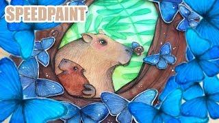Baixar Morphos and Capybaras - Animal Artists Collective - watercolor illustration