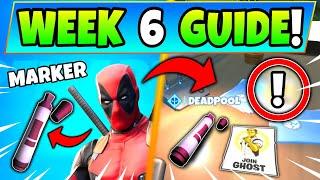 Fortnite DEADPOOL WEEK 6 CHALLENGES: BIG BLACK MARKER + Posters! - How to Get Deadpool Battle Royale