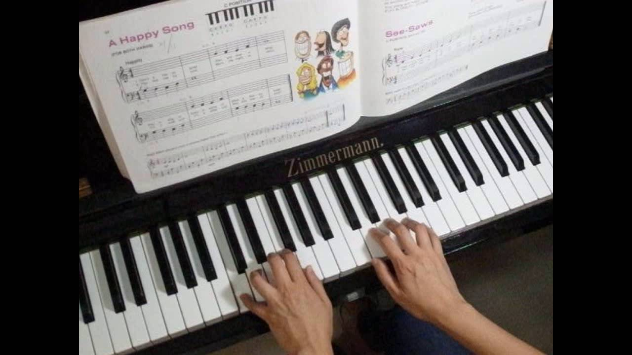 A Happy Song (For Both Hands) - Alfred's Basic Piano Library Lesson Book  Level 1A P 34