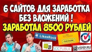 ТОП 6 сайтов для заработка денег в интернете. Вывел 8500 рублей
