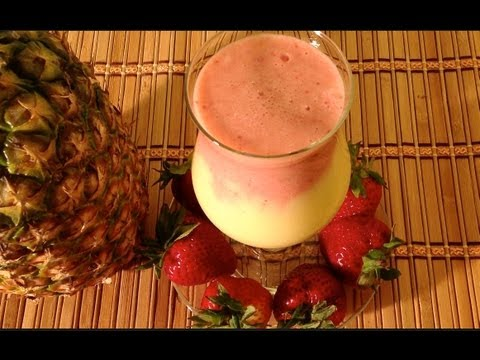 Pineapple Strawberry Smoothie-How To Make A Pineapple Strawberry Yogurt Smoothie-Fruit Smoothie