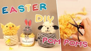 3 Pom-Pom Easter Animals: Chick Bunny Lamb