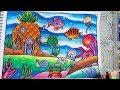 Cara Menggambar dan Mewarnai Pemandangan Dasar Laut - Gradasi Warna Oil Pastel