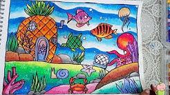 Cara Mudah Menggambar Dan Mewarnai Pemandangan Pantai Dengan Gradasi