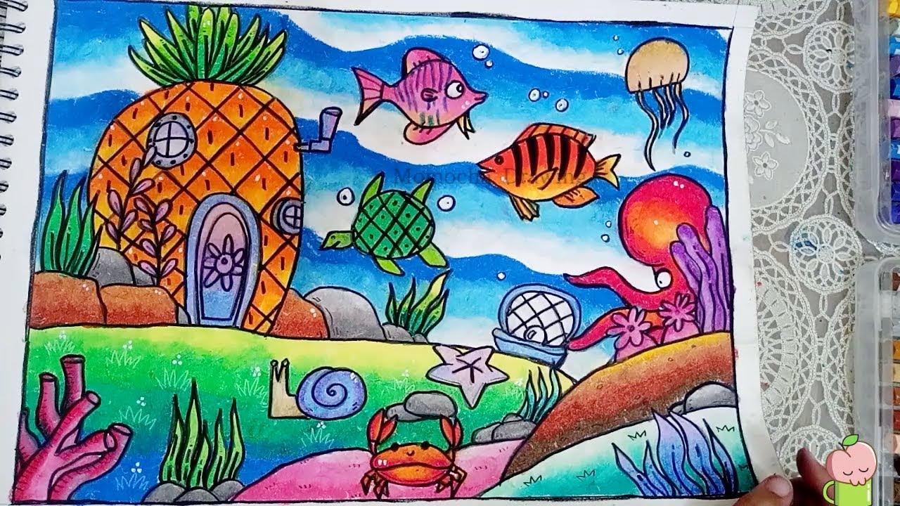 Cara Menggambar Penyu Dan Pemandangan Bawah Laut Dengan