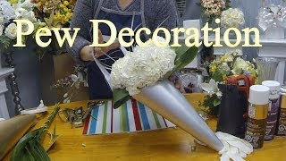 How to Make a Wedding Pew Decoration with Fresh or Silk Flowers(This video is about how to make a church pew decoration in a cone holder with fresh pretty flowers or artificial flowers at home by yourself for your wedding day., 2014-03-30T17:04:08.000Z)