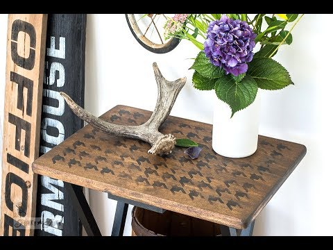 Houndstooth TV Table Makeover