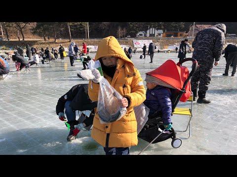 Ice Fishing At Pyeongchang Trout Festival