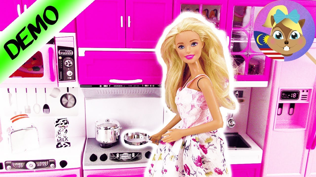 Dapur Barbie Dapur Patung Oven Dapur Masak Peti Sejuk Main Masak Masak Dengan Monster High Youtube