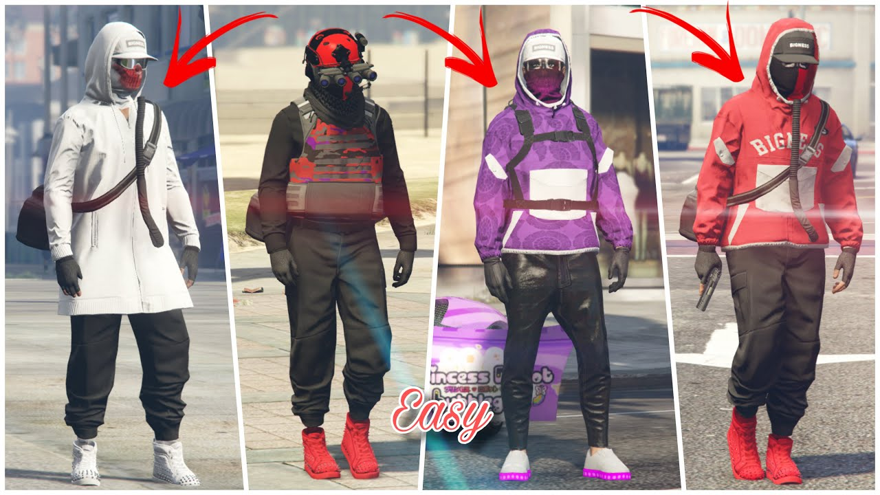 GTA 5 Online 4 Easy asf* Tryhard Outfits Using Clothing Glitches! *Not Modded Outfits!